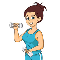 girl smiling exercising with dumbbell clipart